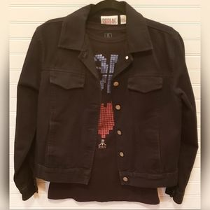 Bill Blass Jeans Denim Jacket Black Size Small